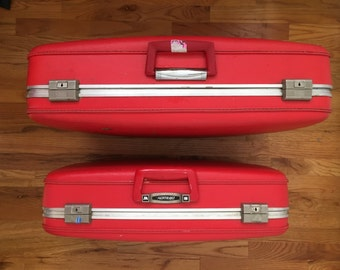 Vintage red suitcases