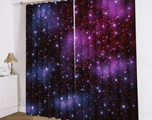 Purple galaxy Curtains Window Curtains Two Panels Drapes Galaxy Curtains