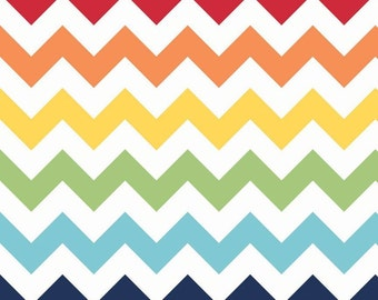 Half Yard Large Chevron - Rainbow Colors - Cotton Quilt Fabric - C330-01 - Riley Blake Designs (W3304)
