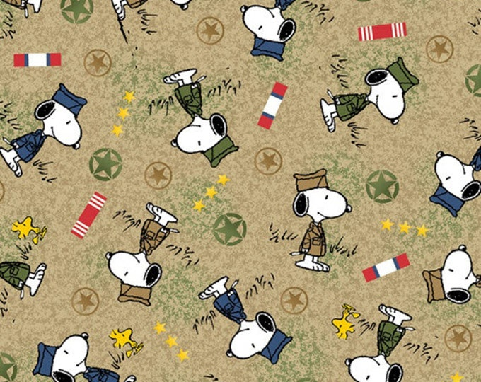 Half Yard Peanuts - Hugs for Heroes - Military Snoopy Toss in Khaki Tan - Snoopy Cotton Quilt Fabric - Quilting Treasures - 22771-A (W3104)