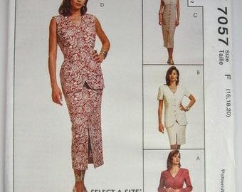 McCall's 7057 Misses Jacket Vest Dress & Skirt Sewing Pattern Sizes 16 - 20 Uncut