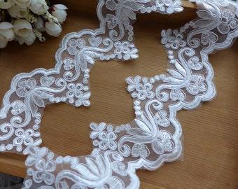 "3.9"" wide scalloped lace ivory alencon lace trim for mantilla veil, diy wedding, bridal garter"