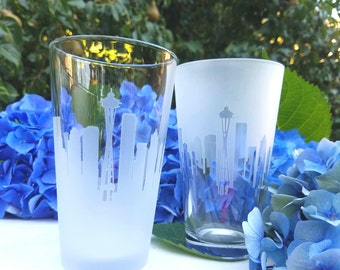 Seattle Skyline Pint Glass Pair