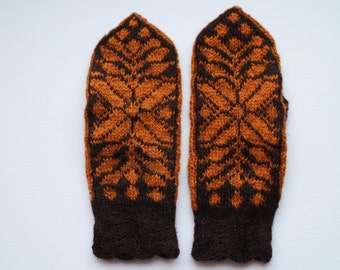 Hand knit wool mittens
