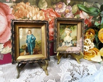 """Old Wood Framed Pictures- Matching Pair of 4"""" x 4.5"""" Vintage Picture Frames- Neat Old Prints- Shabby-Chippy Small Picture Frames- Blue Boy"""