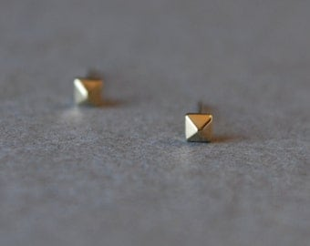 Gold Pyramid Stud Earrings - Gold plated over Sterling Silver