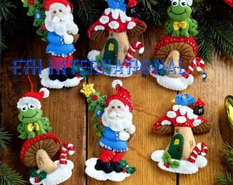 Bucilla Gnome Santa ~ 6 Pce. Felt Christmas Ornament Kit #86557 Frog, Mushrooms DIY