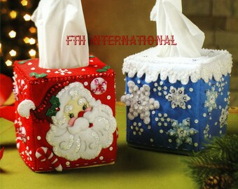 Bucilla Christmas Tissue Box Covers ~ Felt Home Decor Kit #86423 Santa Snowflake DIY