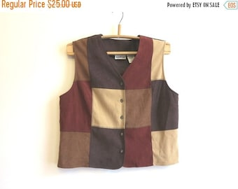 ON SALE Brown Beige Red Colorblock Womens Vest Extra Large Color Block Waistcoat