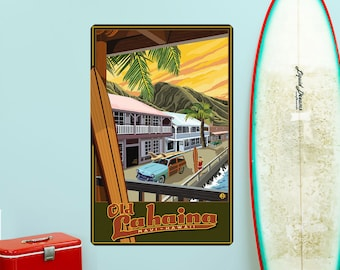 Old Lahaina Maui Hawaii Tiki Wall Decal - #60756