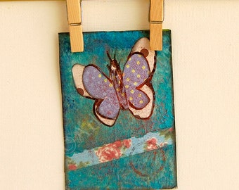 Artwork.ACEO original. Mixed Media.Butterfly. Miniature Art ACEO. Artist Trading Card