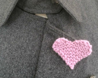 Pink Heart Brooch, Knitted Heart Lapel Pin Brooch, 7th Anniversary Gift For Her, Handmade Jewellery, Women Gift Ideas, Engagement Present