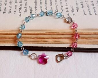 Swarovski crystals bracelet floral charm pink and baby blue Violet Swarovski