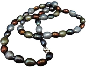 Cultured  Baroque Pearl Necklace Metallic Tones 14k Clasp