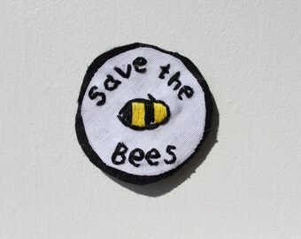 Save The Bees Fabric Pin Patch