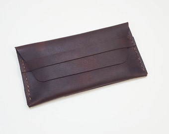Brown Leather Passport Clutch Wallet with rear plane ticket slot. Brown Leather Clutch, Leather Passport Wallet