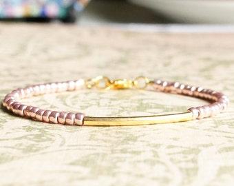 Pink Gold Bracelet, Gold Tube Bracelet, Seed Bead Bracelet, Stacking Bracelet, Simple Gold Bracelet, Minimalist Bracelet, Dainty Bracelet