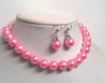 "14 Inch Bright Pink Glass Pearl Necklace | Single Strand Pearl Jewelry Set | Flamingo | Pop Pink | Chocker | Large Oversized Jumbo | 16"""