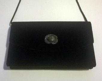Jane Shilton Evening Bag Vintage Black Velour Shoulder Bag 1980s Flower Detail