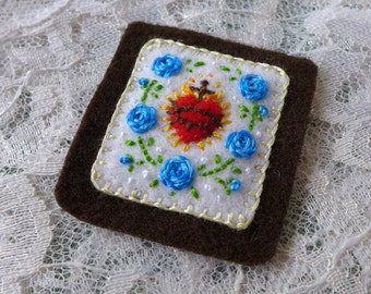 Sacred Hearts and Blue Roses - Hand Embroidered Brown Scapular