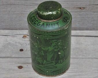 Antique Victorian Era Schepp's Cocoanut Tin Litho Container
