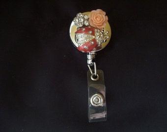 Lady Bug ID Holder (145) - Lady Bug Badge Holder - Lady Bug Badge Reel - vintage jewelry - repurposed jewelry - Lady Bug jewelry