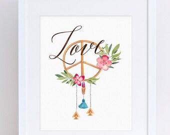 Love is all you need, Printable, Boho Decor, Boho Printable, Peace, Symbols, Peace Sign Wall Art, Instant Download