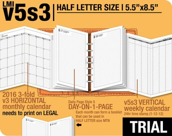 Trial [HALF size v5s3 w ds5 do1p] November to December 2017 - Half Letter - Filofax Inserts Refills Printable Binder Planner Midori.