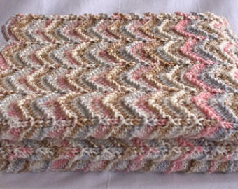 Beautifully soft Multicoloured Ripple Effect Knitted Girls Baby Blanket