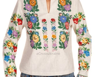 Ukrainian Handmade Beaded Blouse with Ethnic Design/Seed Bead Embroidery/Beading/Vyshyvanka/Folk Outfit/Flowers/ Top- XS, S, M, L, XL, 2-4XL