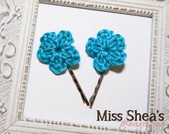 Crochet flower hairpin