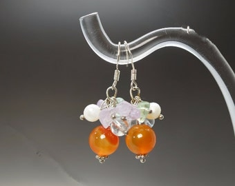 Natural Red Carnelian Earrings, Carnelian Cluster Earring, Sterling Silver Earrings Stone Earrings