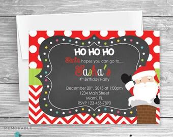 Christmas Birthday Invitation - Santa Birthday Invitation - Santa Themed Party - Christmas Party Invitation - Santa Birthday - Printable