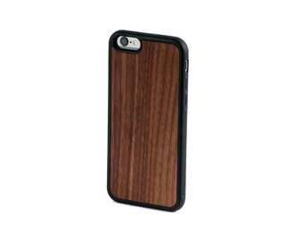 Real Walnut Wood iPhone 6, 6S, 6 Plus, 7, 7 Plus Case with Bumper Edge