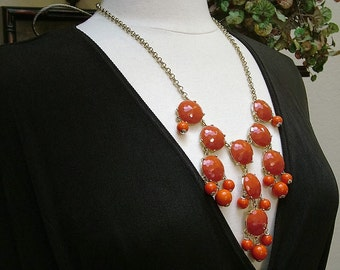 Vintage 80's J Crew Red Faceted Bubble Bib Style Necklace