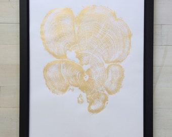 Gold Tree Ring Print, Grand Canyon Print, Tree ring print, in Gold Ink. Real Tree Stump Art, Gold Wedding Decor, Gold Wall Art, Erik Linton
