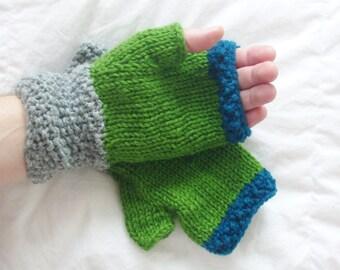 Handmade blue gray green knitted wrist warmers or fingerless gloves