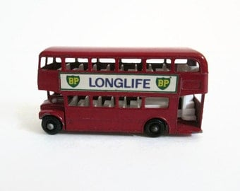 Matchbox Bus No 5, Routemaster Bus, Vintage Toy Bus, Matchbox Series 1-75, Lesney Products, BP Longlife Decals, London Bus Red Double Decker