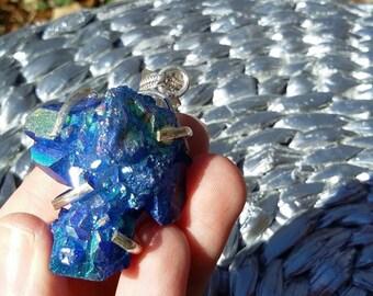 Blue rainbow druzy, silver pendant necklace.