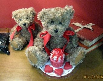 Wax Dipped Large Teddy Bear with Strawberry Cupcake Candle Gift Set