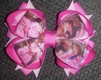 Grease Pink Ladies Handmade Stacked Boutique Bow