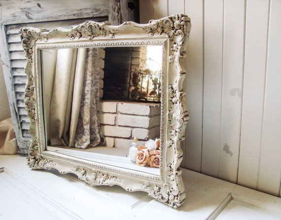 Antique Cream Patina Vintage Ornate Mirror Shabby Chic