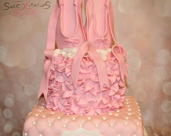 3D Pink Ballerina Shoes Ballet Pointe Edible Cake Topper