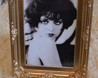 Clara Bow black & white print in a gold vintage style frame
