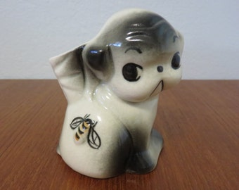 Vintage Black and White Puppy Dog Planter/Container