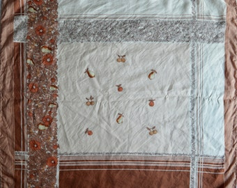 Vintage scarf 100% pure silk beige brown flowers fruit Made in Western Germany
