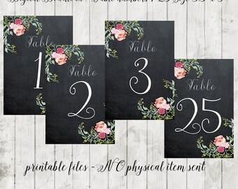Printable chalkboard table numbers, wedding table numbers 1-25, floral wedding table numbers, you print, 3.5 x 5