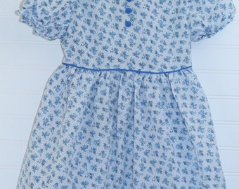 Vintage girls dress .Blue with blue flowers, No Name Dress for 3T