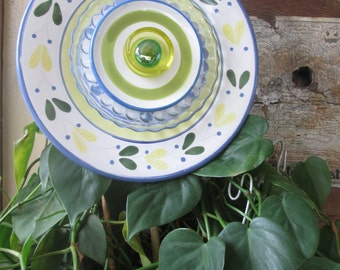 Funky Upcycled Yard/Garden Art- Vintage Glass Flower Plate; Suncatcher