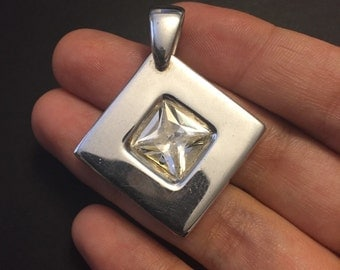 Vintage sterling silver with Swarovski  pendant, square, geometrical shaped crystal, stamped 925